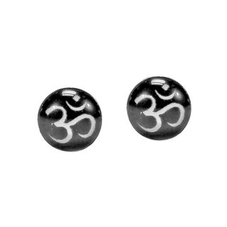Petite Aum or Om Prayer Sign .925 Silver Earrings (Thailand)