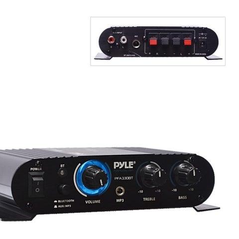 Pyle PFA330BT Bluetooth Mini Blue Compact Amplifier/ Aux (3.5mm) Input/ Push-Type Speaker Terminals/ 90 Watt Amp