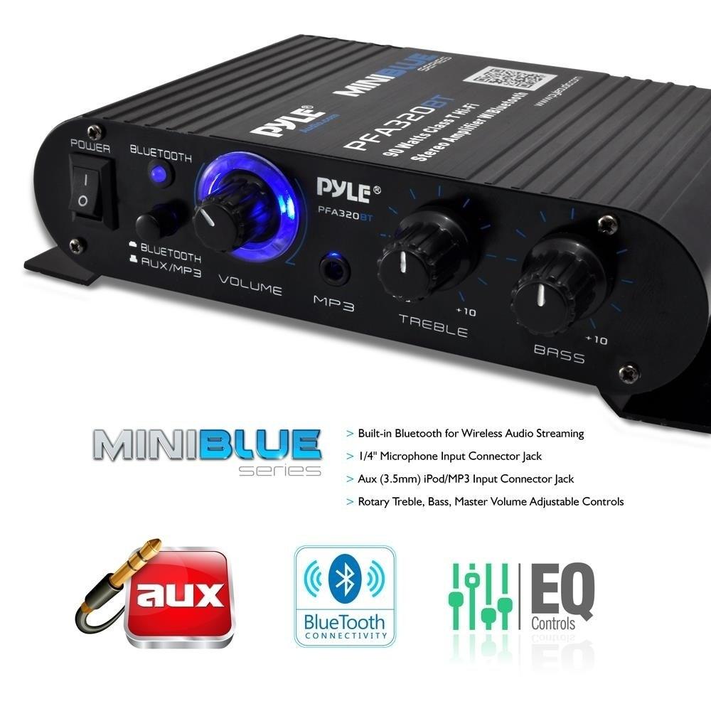 Pyle PFA330BT Bluetooth Mini Blue Compact Amplifier/ Aux (3 5mm) Input/  Push-Type Speaker Terminals/ 90 Watt Amp