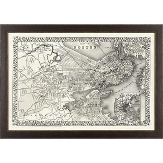 Vintage Framed City Map of Boston Art Print