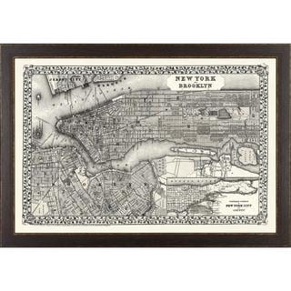 Vintage Framed City Map of New York City Art Print