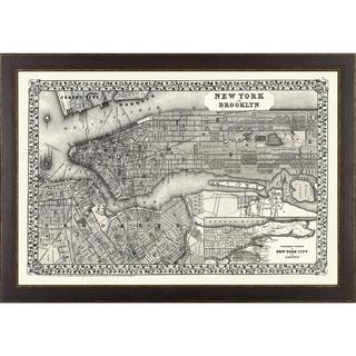 Vintage Framed City Map of New York City Art Print - Brown