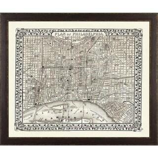 Vintage Framed City Map of Philadelphia - Brown