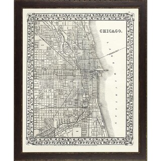 vintage framed city map of chicago