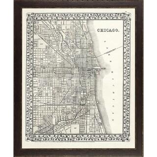 Vintage Framed City Map of Chicago - Brown