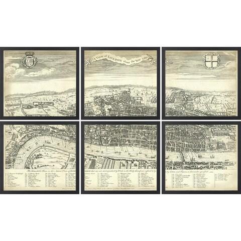 Vintage Framed 6 Piece Segmented Map of London - Black