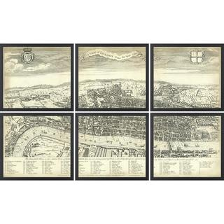 Vintage Framed 6 Piece Segmented Map of London - Black