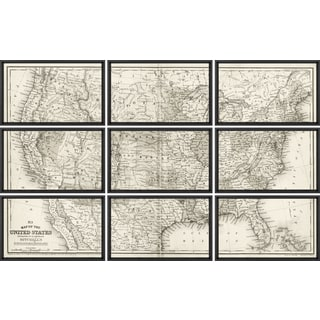 Vintage Framed 9-piece Sectional Map of United States Art Print