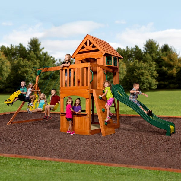 Backyard Discovery Atlantis All Cedar Swingset - 217 inches wide x 93 inches deep x 111 inches high. Opens flyout.