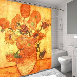'Sunflowers' by Van Gogh Printed Water Resistant Fabric Shower Curtain
