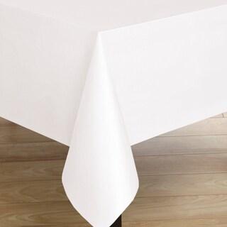 Oblong White Flannelback Vinyl Tablecoth
