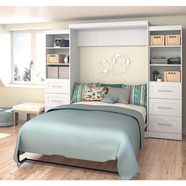 """Pur by Bestar 115"""" Queen Wall bed kit with six drawers"""