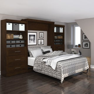 "Pur by Bestar 136"" Queen Wall bed kit with six drawers"