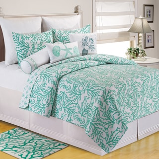 Coral Seafoam Cotton Coastal Quilt (Shams Not Included)