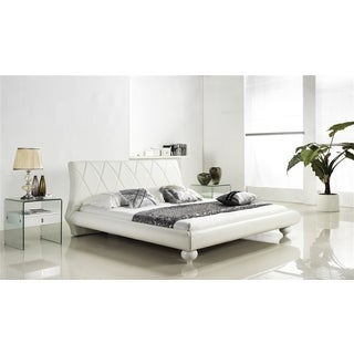 JOY KING Collection White leather headboard with eco-leather match rails King Bed by Casabianca Home