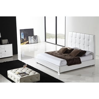 SORRENTO Collection White leather headboard with eco-leather match rails King Bed by Casabianca Home