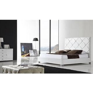 VERONA Collection White leather headboard with eco-leather match rails King Bed by Casabianca Home