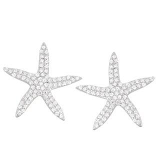 La Preciosa Sterling Silver Cubic Zirconia Starfish Stud Earrings