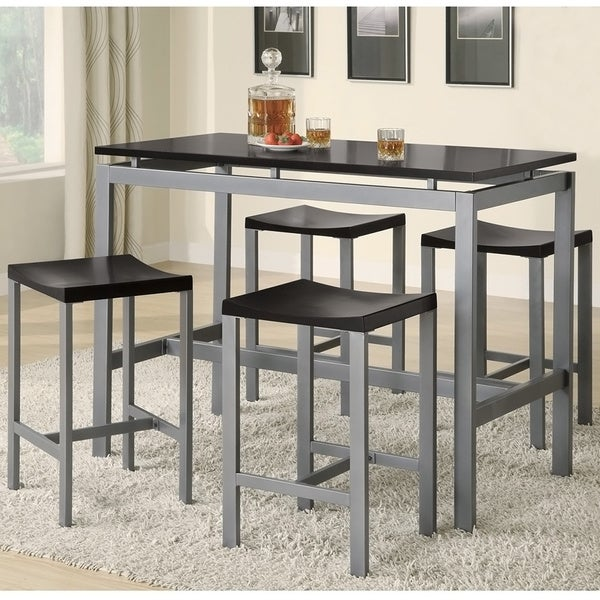 Coaster Company Black/ Silver Counter Height 5 Piece Dining Set