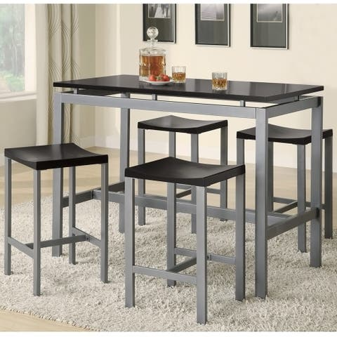 Coaster Company Black/ Silver Counter Height 5-piece Dining Set