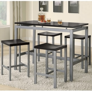 Attractive Coaster Company Black/ Silver Counter Height 5 Piece Dining Set