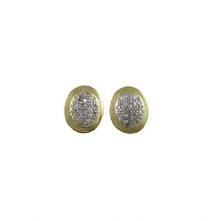 Luxiro Two-tone Sterling Silver Pave Cubic Zirconia Oval Stud Earrings