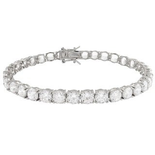 Luxiro Sterling Silver 5mm Round Cubic Zirconia Tennis Bracelet