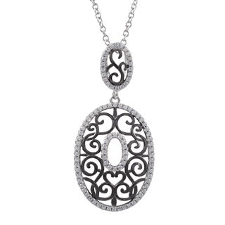 Luxiro Two-Tone Sterling Silver Pave Cubic Zirconia Filigree Oval Pendant Necklace