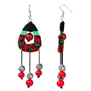 Handmade Pear Drop Dangle Beaded Earrings