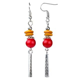 Dangle Red Bead Earrings