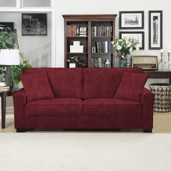 Shop Handy Living Karsten SoFast Berry Red Chenille Sofa ...