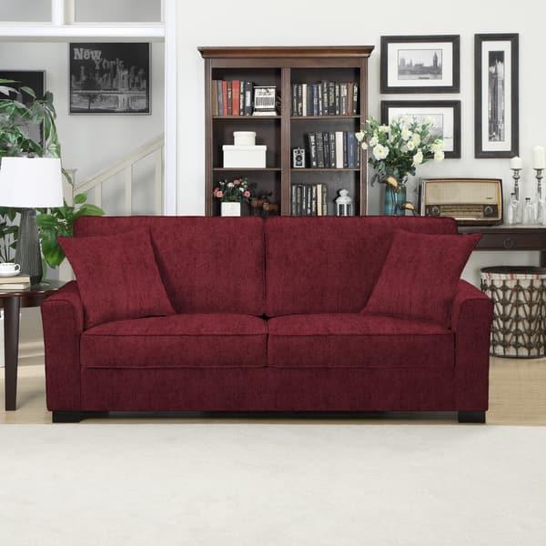 Shop Handy Living Karsten SoFast Berry Red Chenille Sofa - Free ...