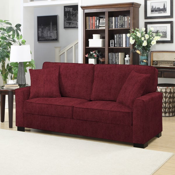 shop handy living karsten sofast berry red chenille sofa free rh overstock com red chenille sofa set red chenille couch