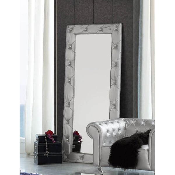 Luca Home Free Standing Silver Tufted Mirror - Free Shipping Today ...