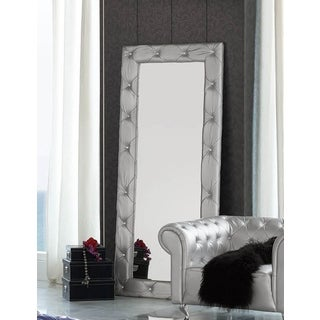 Stella Crystal Tufted Modern Floor Mirror Free Shipping