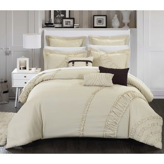 Chic Home 8-Piece Dearly Oversized and Overfilled Beige Comforter Set