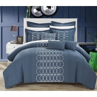 Chic Home 8-piece Tussard Oversized Blue Comforter Set