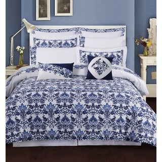 Catalina 12-piece Cotton Percale Bed-in-a-Bag with Deep Pocket Sheet Set (3 options available)