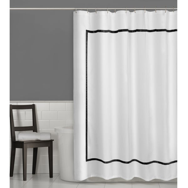 black and white bathroom shower curtain maytex hotel border fabric shower curtain 70 quot x 72 25113