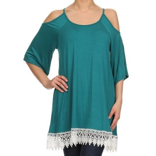 MOA Collection Women's Lace Trimmed Cutout Tunic