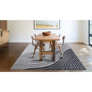 Absract Dark Gray Indoor Area Rug (5'3 x 7'4)