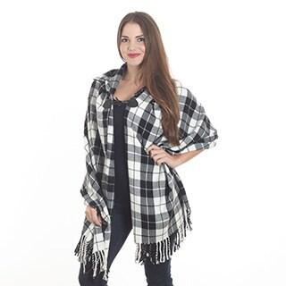 Classic Plaid Hooded Poncho
