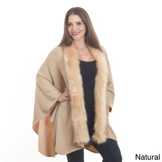 Saro Women's Faux Fur Edged Wrap