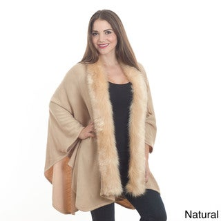 Saro Women's Faux Fur Edged Wrap