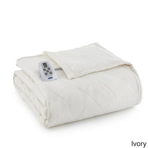 Shavel Micro Flannel Quilted Electric Heated Blanket