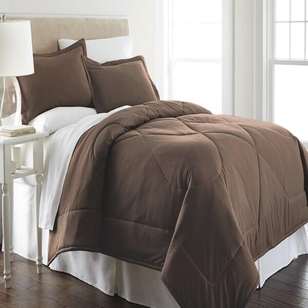 Micro Flannel Solid Color 3-piece Comforter Set