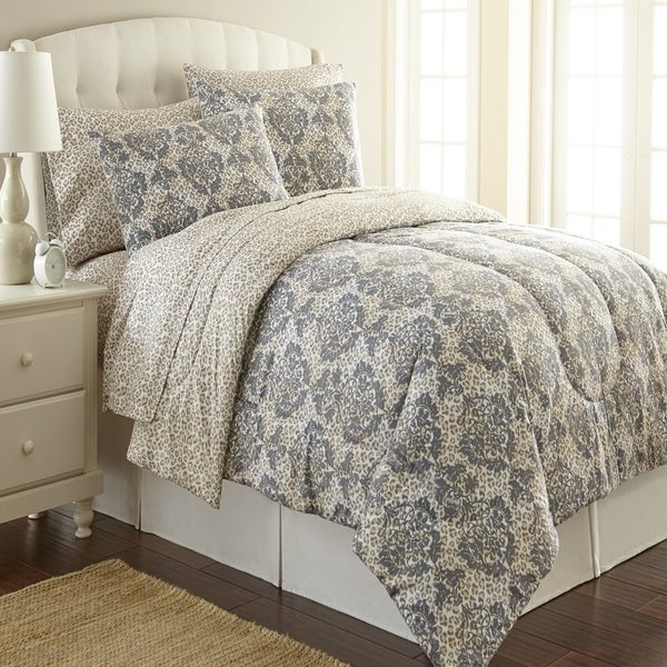 Micro Flannel Leopard Damask 3-piece Comforter Set