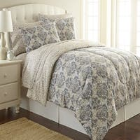 Shavel Micro Flannel Leopard Damask Printed Comforter Mini Set