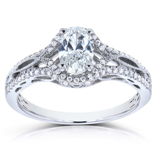 Annello 14k White Gold Certified Oval 7/8ct TDW Diamond Engagement Ring (H, VS1-VS2)