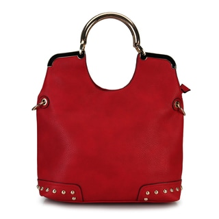 Diophy Faux Leather Tote Large Studded Corners Top Handle Handbag